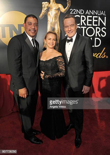 National Executive Director David White and SAGAFTRA Executive VP Gabrielle Carteris with actor Bryan Cranston attend the 22nd Annual Screen Actors...