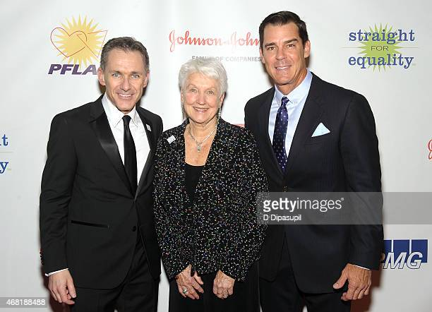 PFLAG National Executive Director Jody M Huckaby National PFLAG President Jean Hodges and MLB Ambassador for Inclusion Billy Bean attend the 7th...