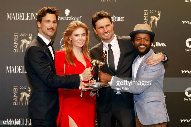 'National Film' Award Winners Florian David Fitz Palina Rojisnki Simon Verhoeven and Eric Kabongo pose at the Bambi Awards 2017 winners board at...
