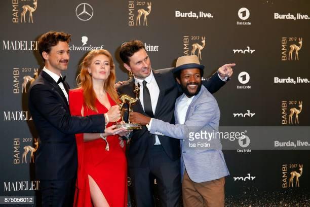 'National Film' Award Winners Florian David Fitz Palina Rojisnki Simon Verhoeven and Eric Kabongo at the Bambi Awards 2017 winners board at Stage...