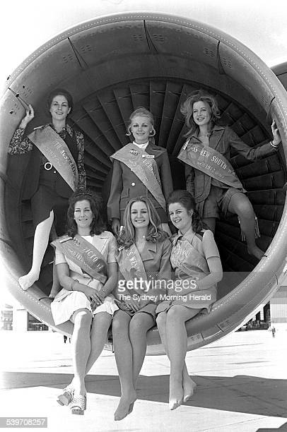 National finalists competing in the Miss Australia 1972 contest visiting Sydney's Mascot Airport to inspect a Qantas Boeing 707 Back row from left...