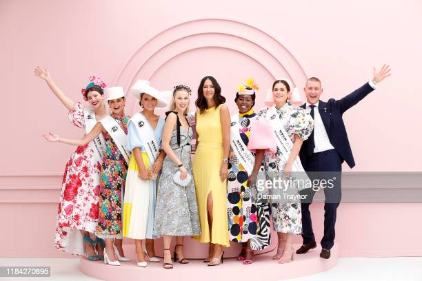 National Finalists of Myer Fashions pose for a photo with judges Crystal Kimber Lindy Klim and Elliot Garnaut at Flemington Racecourse on October 30...