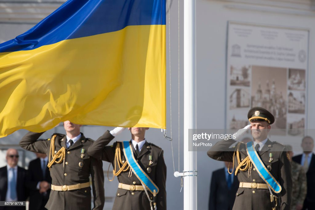 National Flag at the St. Sophia square in downtown Kyiv, Ukraine, 23 August 2017. Ukrainians mark the National Flag Day, one day prior to Independence Day, which is celebrated on 24 August.