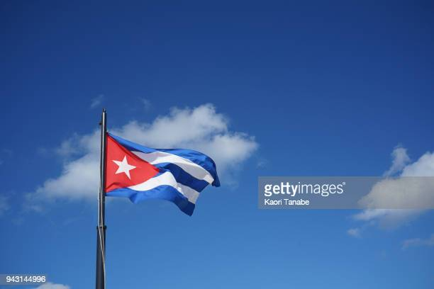 national flag fly in the wind - cuban flag stock pictures, royalty-free photos & images