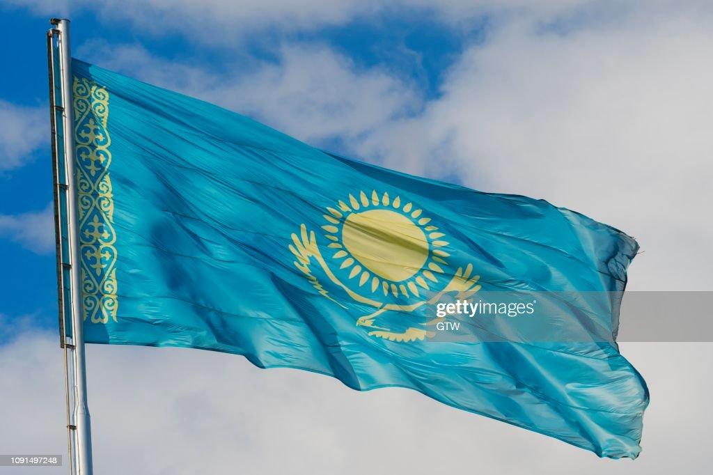 National flag in wind, Independence Park, Shymkent, South Kazakhstan Region, Kazakhstan : Stock Photo