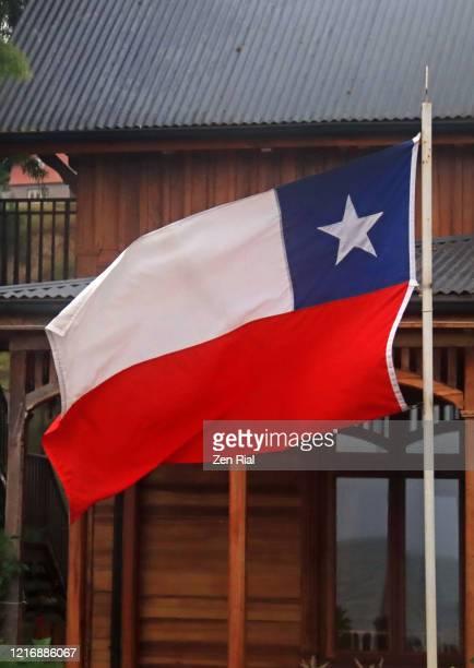 national flag of chile on a flag pole - bandiera del cile foto e immagini stock