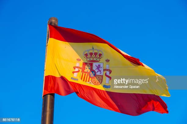 National flag of Spain waving in the wind
