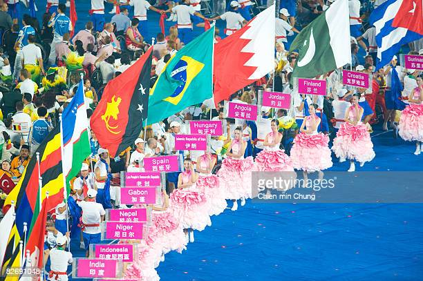 National flags are displayed during the Opening Ceremony for the 2008 Paralympic Games at the National Stadium on September 6 2008 in Beijing China