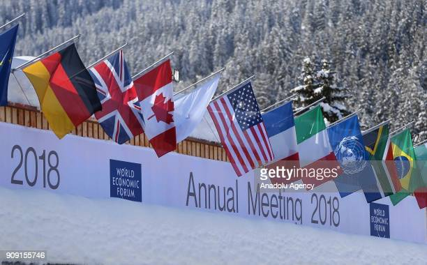 National flags are seen at the congress hall where the Annual Meeting of the 48th World Economic Forum held in on January 23 2018 in Davos Switzerland