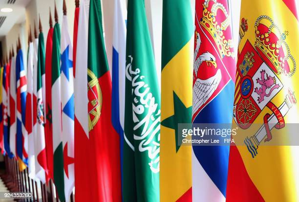 National flags are seen in the lobby during the 2018 FIFA World Cup Russia Team Workshop on February 26 2018 in Sochi Russia