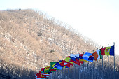 pyeongchanggun south korea national flags fly