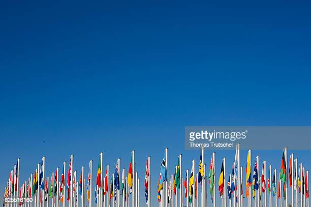 National flags hang on flagpoles under a blue sky on November 15 2016 in Marrakesch Morocco