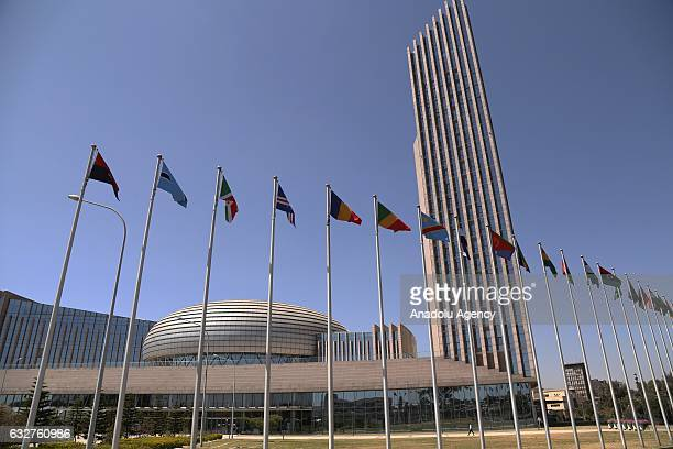 National flags of African countries fly in front of the African Union building ahead of the 28th African Union Summit in Addis Ababa Ethiopia on...