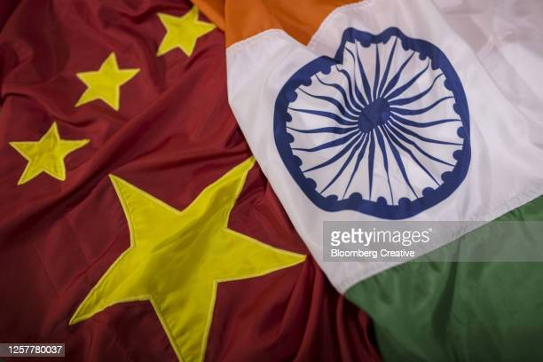 national flags of china and india - india stock pictures, royalty-free photos & images