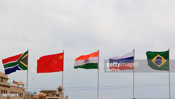 National flags of five countries during BRICS 2016 Women Parliamentarians Meeting at Rajasthan Assembly in Jaipur Rajasthan India 20 August 2016Five...