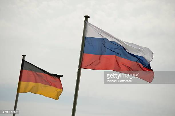 National Flags of Germany and Russia on May 12 2015 in Torgau Germany
