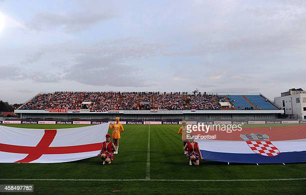 National flags on the Stadion Hnk Cibalia pitch during the UEFA U21 Championship Playoff Second Leg match between Croatia and England at the Stadion...