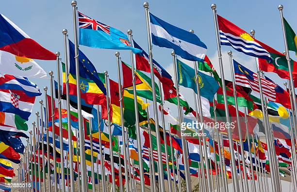 national flags - global village stock pictures, royalty-free photos & images