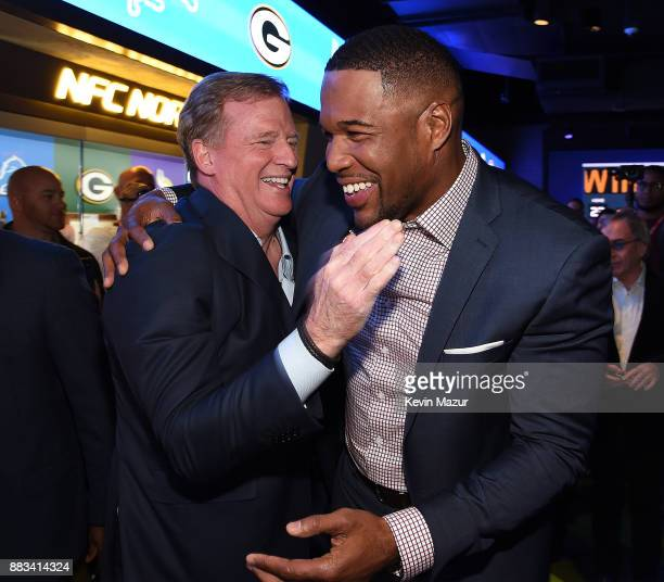 National Football Commissioner Roger Goodell and Michael Strahan attend the NFL Experience Times Square opening celebration on November 30 2017 in...