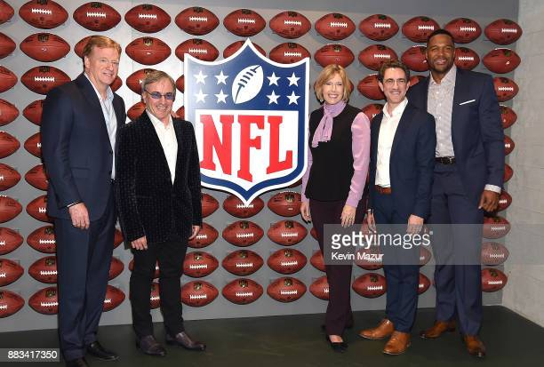 National Football Commissioner Roger Goodell Daniel Lamarre Dawn Hudson Danny Boockvar and Michael Strahan attend the NFL Experience Times Square...