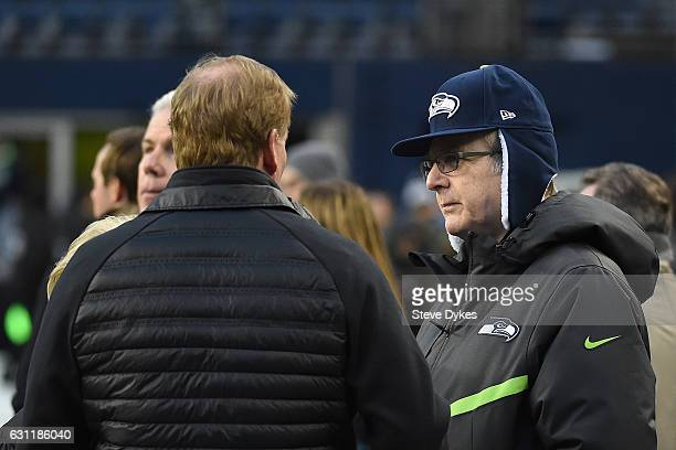 National Football League commissioner Roger Goodell talks with Seattle Seahawks owner Paul Allen before the NFC Wild Card game against the Detroit...