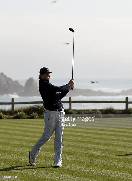 National Football League player Tom Brady in action during round three of the ATT Pebble Beach National ProAm at Pebble Beach Golf Links on February...