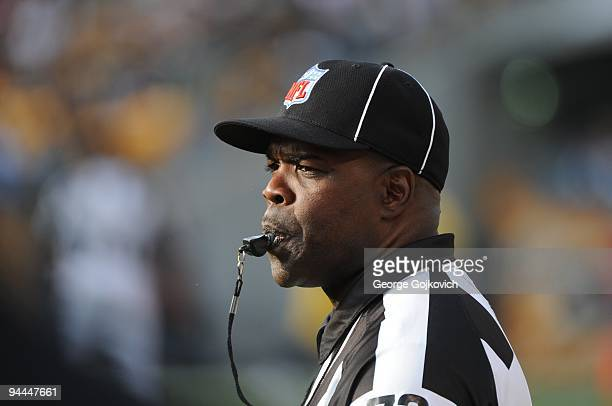National Football League side judge Michael Banks blows his whistle during a game between the Cincinnati Bengals and Pittsburgh Steelers at Heinz...