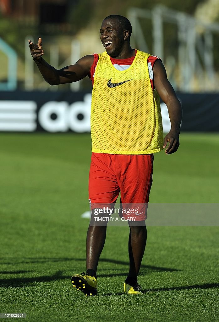 US national football team forward Jozy Altidore warms up during a open training session for fans at Pilditch Stadium in Pretoria on June 6, 2010. The US is preparing for their 1st game next week in the 2010 FIFA World Cup.