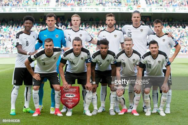 National football team of Austria poses for photo before the FIFA World Cup 2018 Qualifying Round Group D match between Republic of Ireland and...
