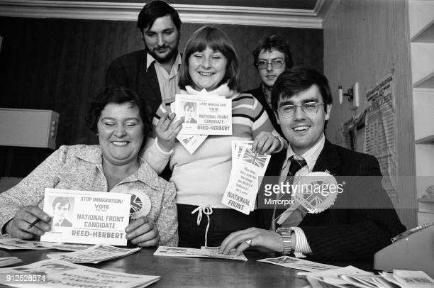 National Front candidate Anthony Reed Herbert Ladywood Birmingham Byelection pictured at part headquarters 18th August 1977