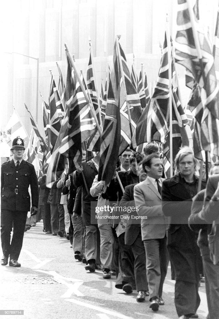 National Front demonstration, Bradford, April 1975. : News Photo