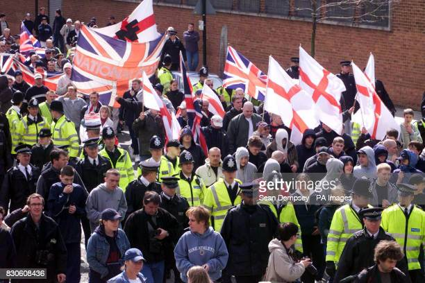 National Front demonstrators march through Bermondsey London A massive police operation prevented potentially violent scenes as the National Front...