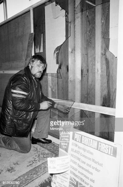 National Front Headquarters damaged during demonstrations, Ladywood, Birmingham, 15th August 1977. By-election, to be held on 18th August 1977.