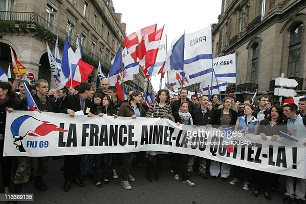 National Front In Paris France On May 01 2008 The 'Fete de Jeanne D'Arc' the National Front traditional parade on May 1st FNJ The Front national de...