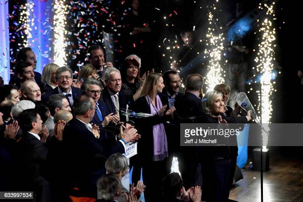 National Front Leader Marine Le Pen acknowledges applause following launching her presidential campaign on February 5 2017 in Lyon France One of the...