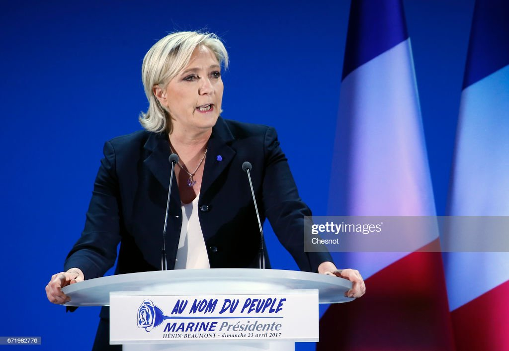 Presidential Candidate Marine Le Pen Spends Election Day In Northern Strong Hold : News Photo