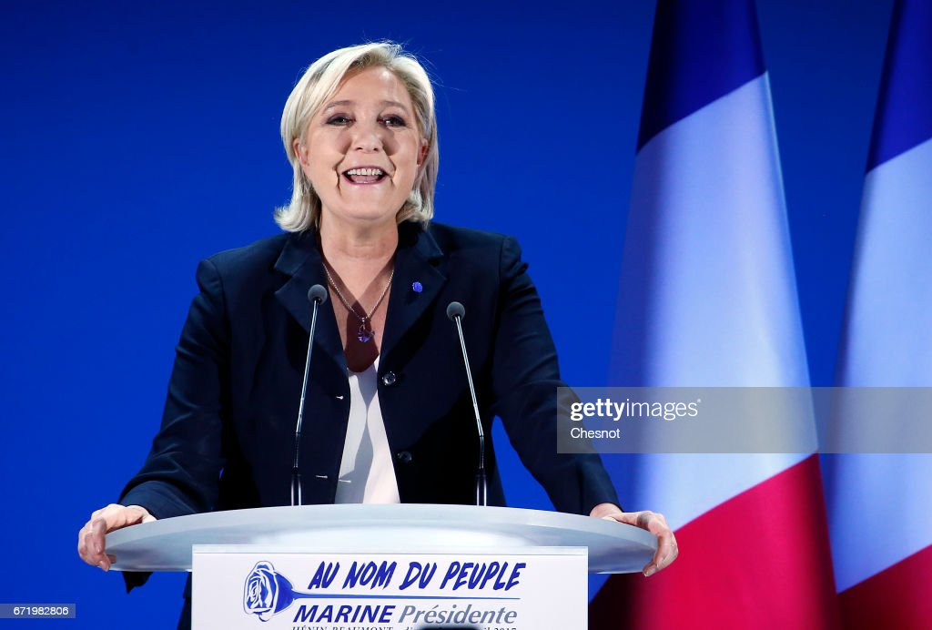 National Front leader Marine Le Pen addresses activists at the Espace Francios Mitterrand on April 23, 2017 in Henin Beaumont, France. According to projected results, founder and leader of the political movement 'En Marche !' Emmanuel Macron has received the most votes with National Front Party leader Marine Le Pen in second place, meaning both will now compete against each other in the next round of the French Presidential Elections on May 7.