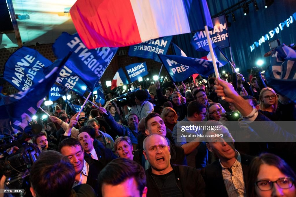 Presidential Candidate Marine Le Pen Spends Election Day In Henin-Beaumont : News Photo