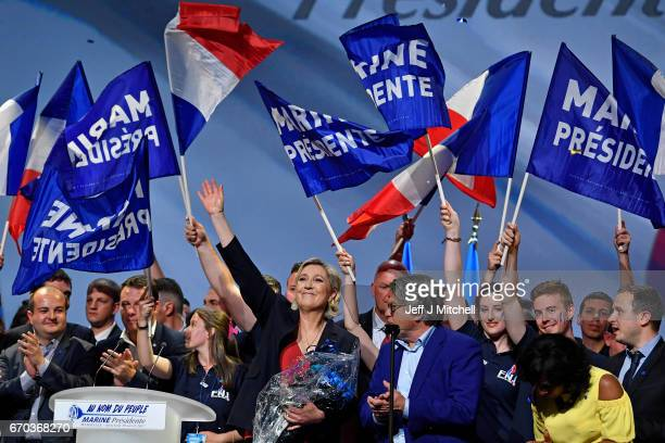 National Front Leader Marine Le Pen holds a presidential campaign rally at the Dome De Marseille on April 19 2017 in Marseille France One of the most...