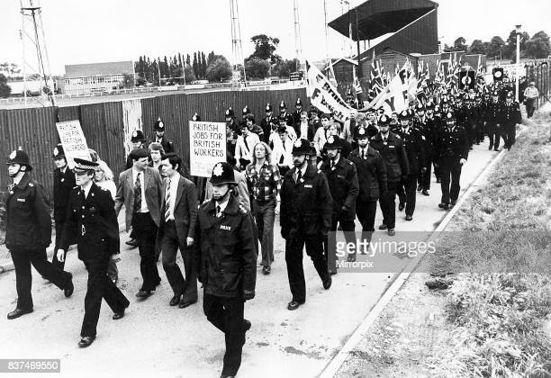 National Front march Nuneaton A huge force of police saturated the town centre yesterday as the National Front announced We're marching at Nuneaton'...