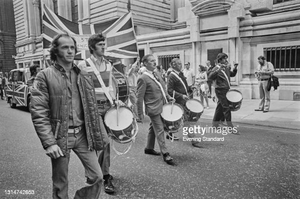 National Front march through London, to demand an end to immigration, UK, 15th June 1974.