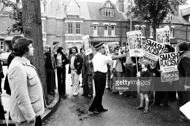 National Front meeting City Road School Winston Green Birmingham Monday 8th August 1977 Tensions ahead of Birmingham Ladywood byelection to be held...