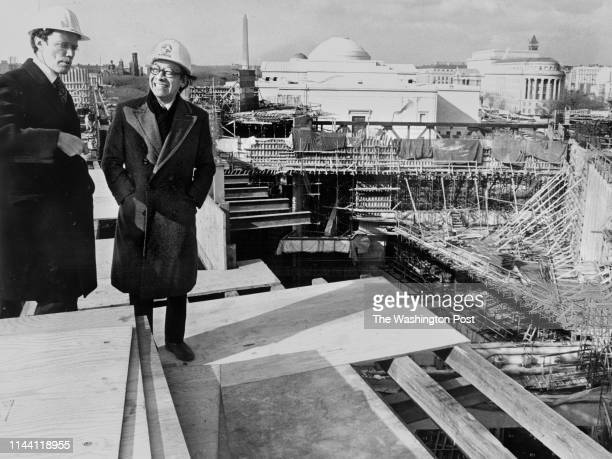 National Gallery Director J Carter Brown with architect I M Pei atop the roof of the east building of the national gallery in Washington DC on...
