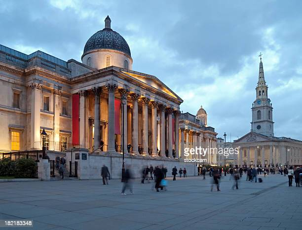 national gallery in london at dusk - museum stock pictures, royalty-free photos & images