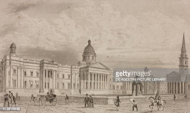 National Gallery London England United Kingdom engraving by Lemaitre from Angleterre Ecosse et Irlande Volume IV by Leon Galibert and Clement Pelle...