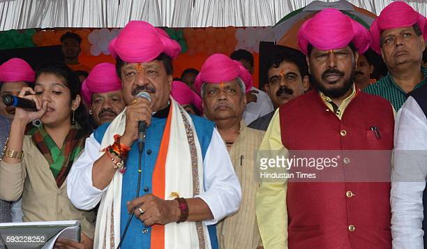 National General Secretary Kailash Vijayvargiya along with Union Minister of State for Social Justice and Empowerment Ramdas Athawale addressing a...