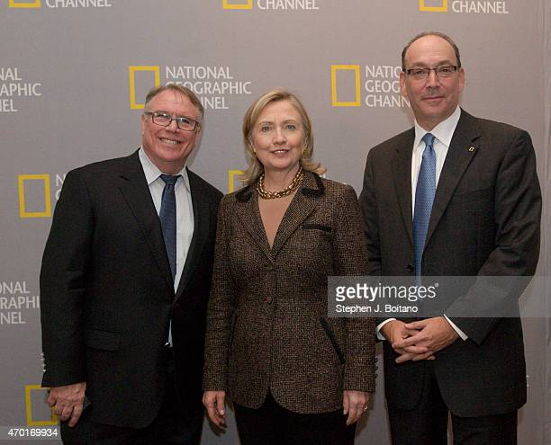 National Geographic Channel's EVP of Content Steve Burns and President Steve Schiffman host Secretary of State Hillary Clinton at the world premiere...
