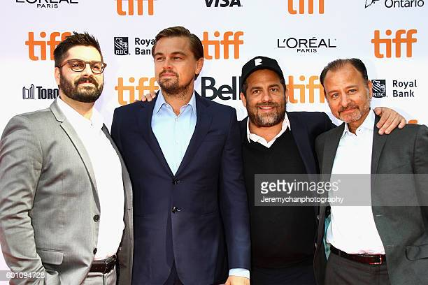 National Geographic Executive Tim Pastore actor Leonardo DiCaprio producer Brett Ratner and director Fisher Stevens attend the 'Before The Flood'...