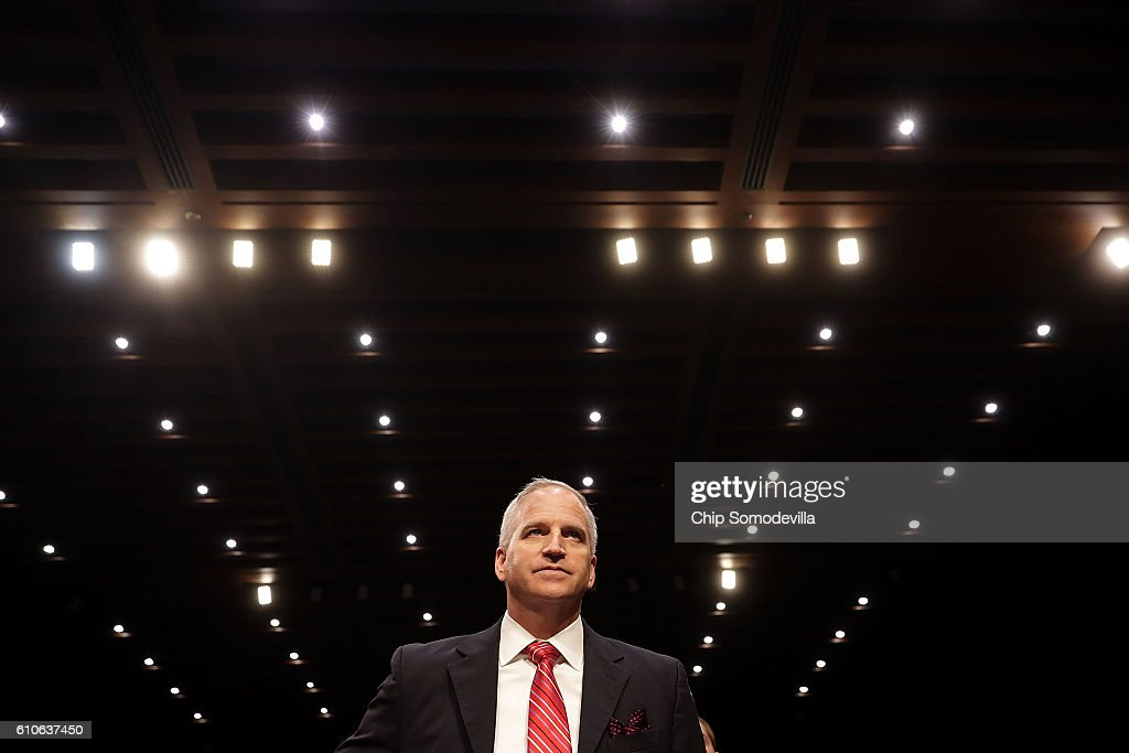 National Geospatial-Intelligence Agency Director Robert Cardillo prepares to testify before the Senate Select Committee on Intelligence in the Hart Senate Office Building on Capitol Hill September 27, 2016 in Washington, DC. Founded 20 years ago, the agency provides geospatial intelligence imagery for the Department of Defense and the U.S. Intelligence Community.