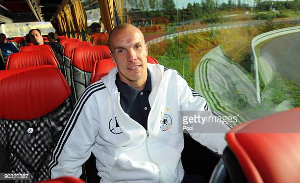 National goalkeeper Robert Enke sits inside the team bus during a safety training at the ADAC center on September 3 2009 in Grevenbroich Germany